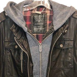 Guess men's faux black leather jacket, Size S